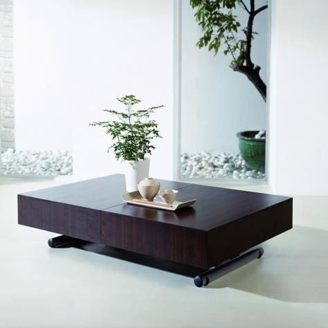 Table basse relevable extensible en bois avec 3 rallonges - Table basse relevable avec rallonge ...