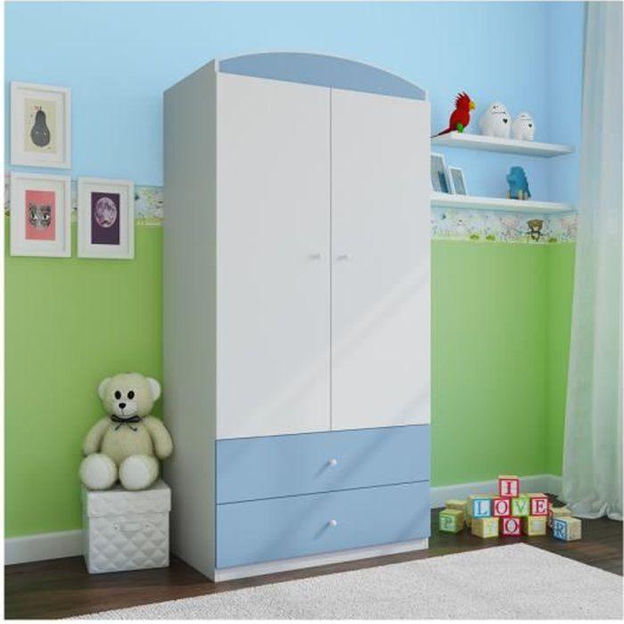Armoire enfant 2 tiroirs bleu achat vente armoire de chambre armoire enfant 2 tiroirs for Chambre mansardee bleu 2