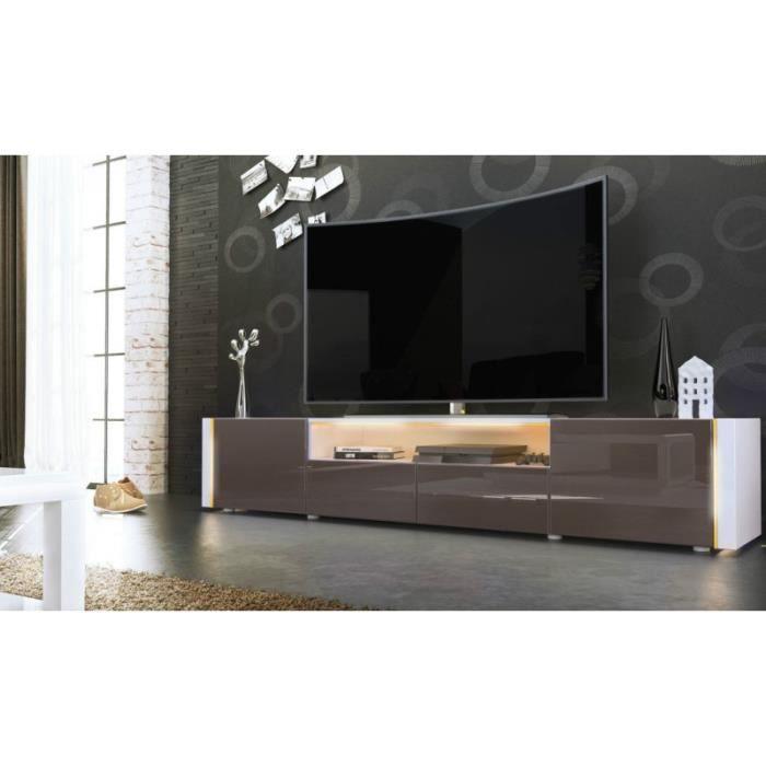 meuble tv bas blanc chocolat 205 cm achat vente. Black Bedroom Furniture Sets. Home Design Ideas