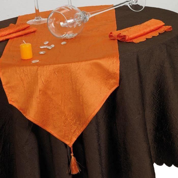 Chemin de table froiss 40x140 orange antitache achat - Chemin de table orange ...