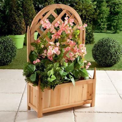 Jardiniere bois avec treillis achat vente jardini re for Jardiniere pour plante grimpante
