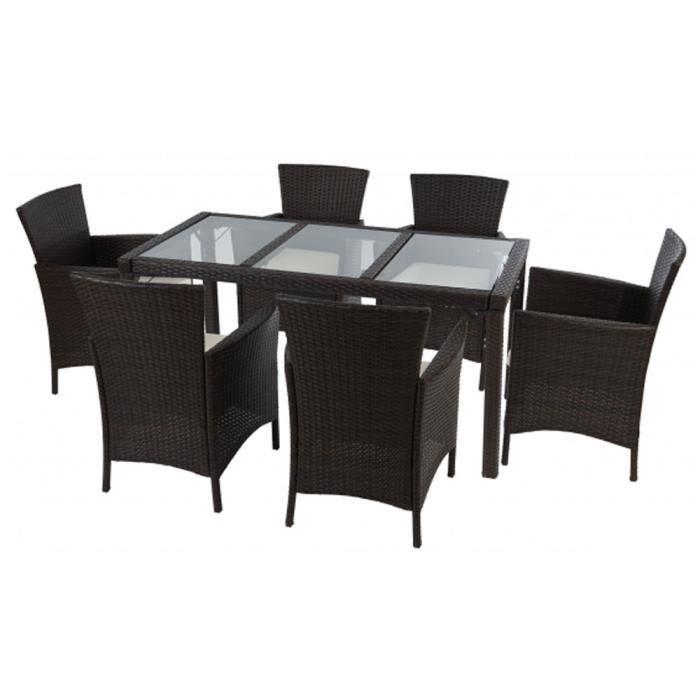 Ensemble de 6 chaises et table de 150 x 80 cm e achat vente salon de jardin ensemble 6 - Ensemble de table de salon ...