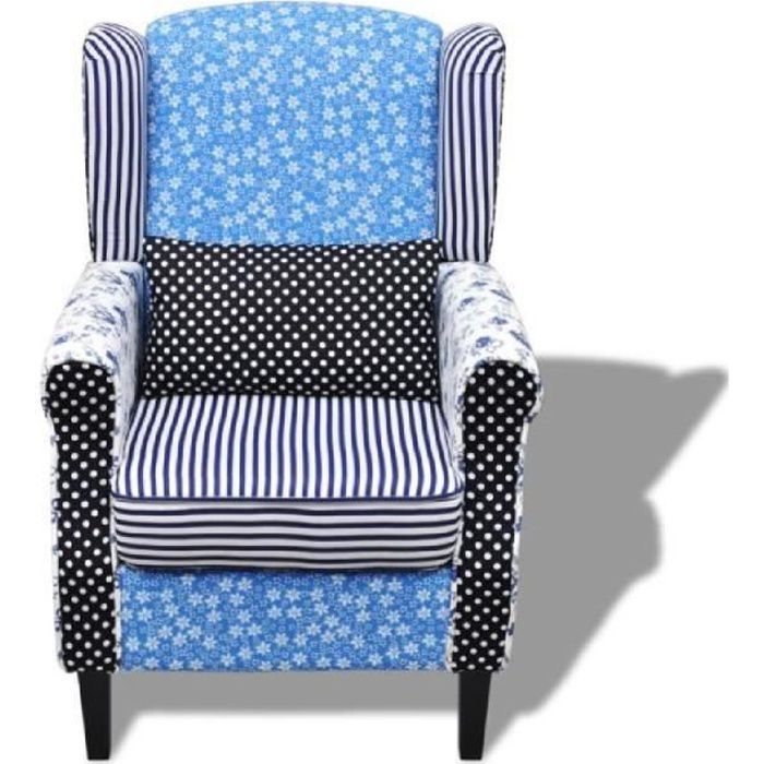 Fauteuil patchwork relax de style campagne achat vente fauteuil bois tis - Tissu style campagne ...