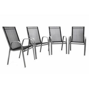 FAUTEUIL JARDIN  4 Chaises de jardin grise empilable textilène