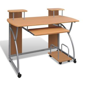 Meuble d 39 ordinateur bureau informatique bois achat for Meuble bureau roulette
