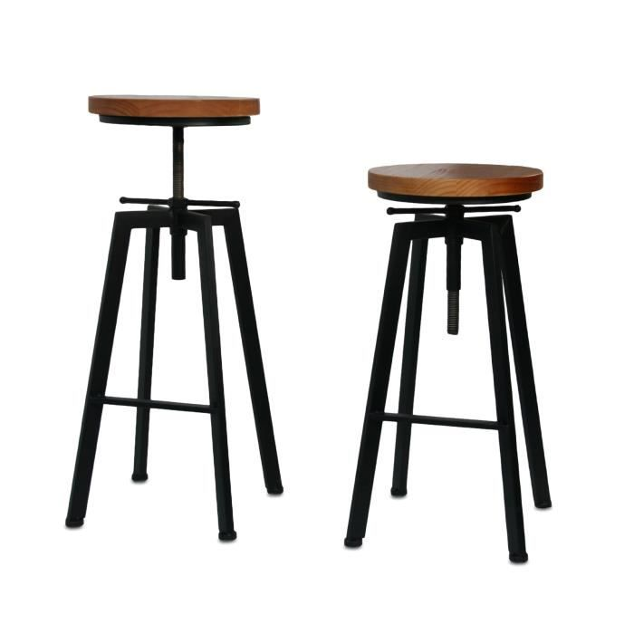 tabouret de bar ou de peintre sur vis design luxe loft style retro vintage m tal bois achat. Black Bedroom Furniture Sets. Home Design Ideas