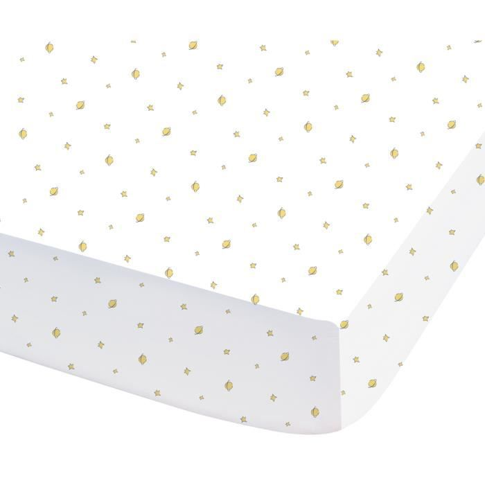 Drap housse blanc 90x190 cm le petit prince 100 coton achat vente drap housse cdiscount - Housse de couette le petit prince ...