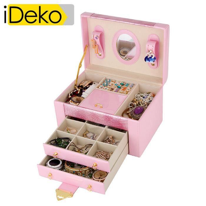 ideko coffret bijoux pu cuir 3 tages rose claire jolie bo te bijoux achat vente boite a. Black Bedroom Furniture Sets. Home Design Ideas