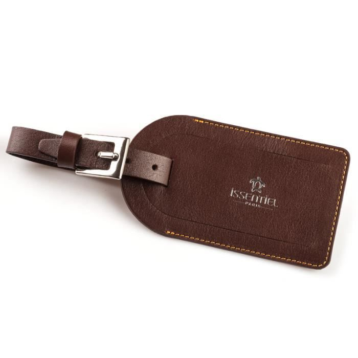 Porte tiquette de bagage en cuir couleur cho chocolat for 1 porte etiquette de voyage