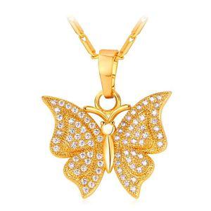 SAUTOIR ET COLLIER Pendentif Papillon Plaqué Or Zircons U7