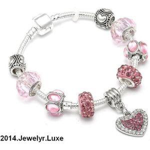 BRACELET - GOURMETTE Bracelet Serpentine Charms Coeur 20 cm Cristal Arg