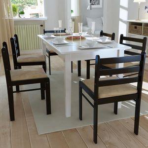 CHAISE P0 Lot de 6 chaises de salle a manger en bois Carr