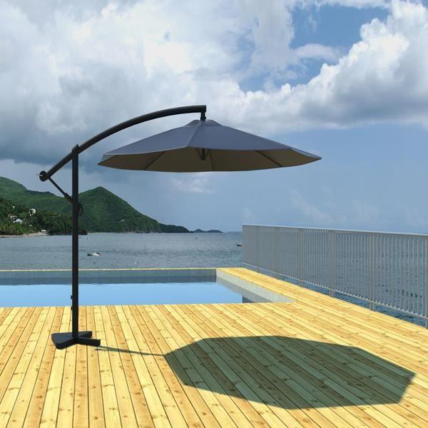 Parasol d port 300 cm gris gris achat vente parasol parasol d port 30 - Parasol deporte soldes ...