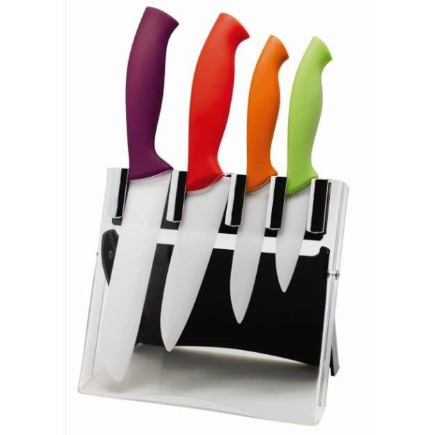 bloc 4 couteaux manche couleur lame c ramique achat vente couteau de cuisine bloc 4. Black Bedroom Furniture Sets. Home Design Ideas
