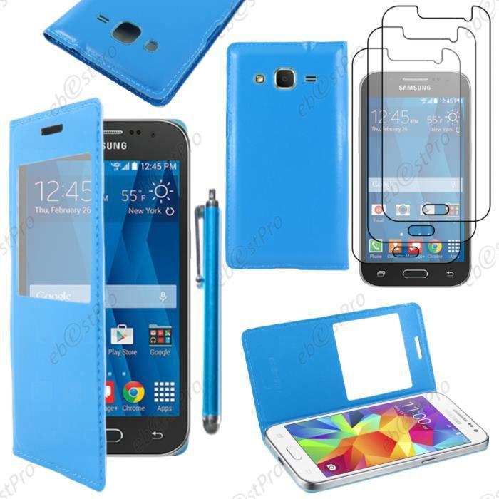 pour samsung galaxy core prime g360f housse coque etui l view smart cover portefeuille bleu. Black Bedroom Furniture Sets. Home Design Ideas
