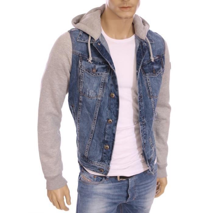 kaporal veste en jeans capuche rein bleue homme. Black Bedroom Furniture Sets. Home Design Ideas