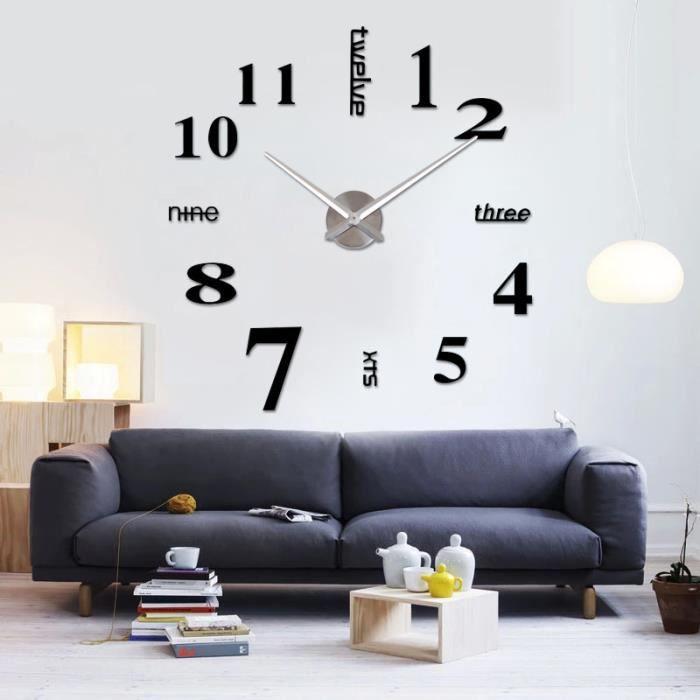 Ocathnon 3d horloge murale design cr ative d corations for Horloge murale grande taille