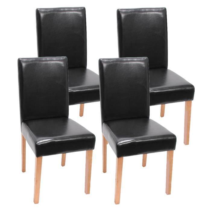 Lot de 4 chaises de salle manger noir avec pi achat for Lot 4 chaises salle manger