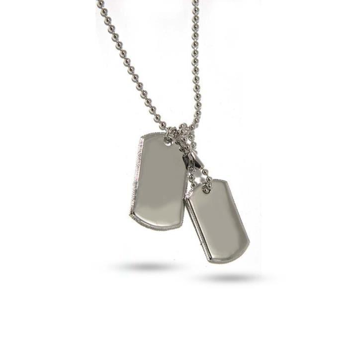 collier homme plaque militaire