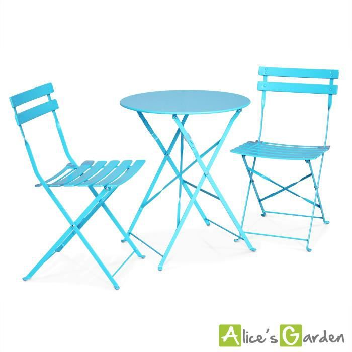 Emilia table bleue style bistrot 2 places achat vente salon de jardin table bistrot 2 - Salon de jardin style bistrot ...