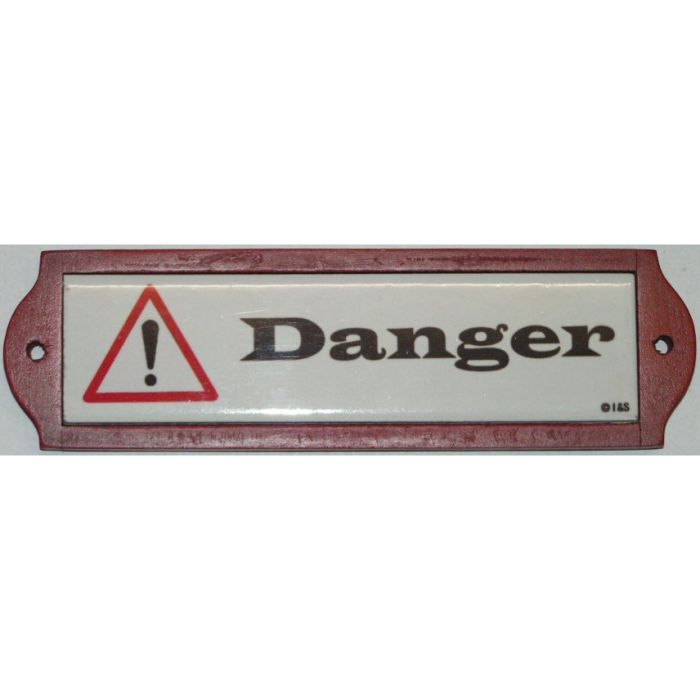 Plaque metal de porte ceramique danger achat vente for Plaque de porte decorative