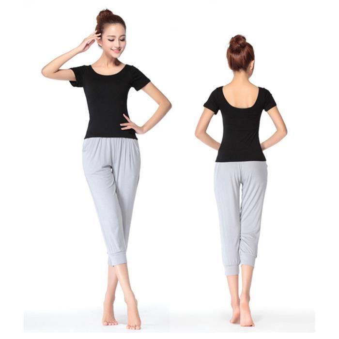 mimode ensemble v tement de yoga femme tenue de sport danse fitness t shirt pantalon gris gris. Black Bedroom Furniture Sets. Home Design Ideas