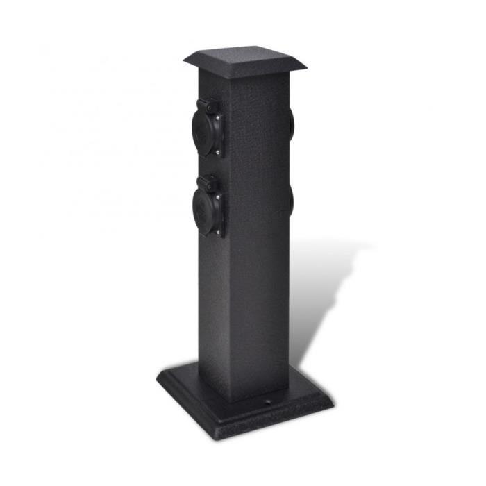 Superbe borne jardin lectrique 4 prises noir achat for Lampe electrique exterieur