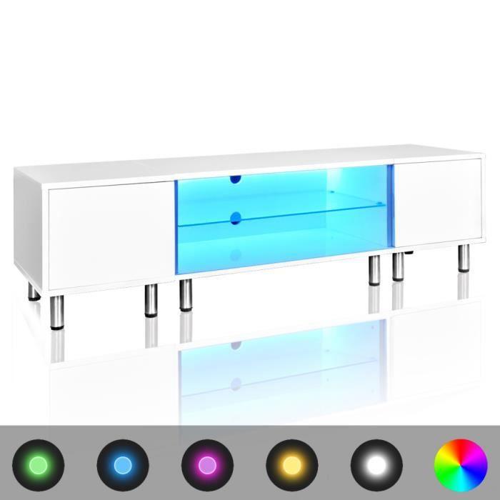 Meuble tv led blanc brillant 160 cm achat vente meuble for Finlandek meuble tv mural katso 160cm blanc et noir