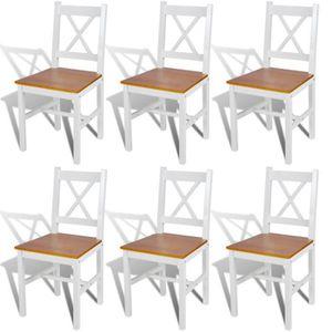 CHAISE Lot de chaises Clark en bois blanc et naturel -