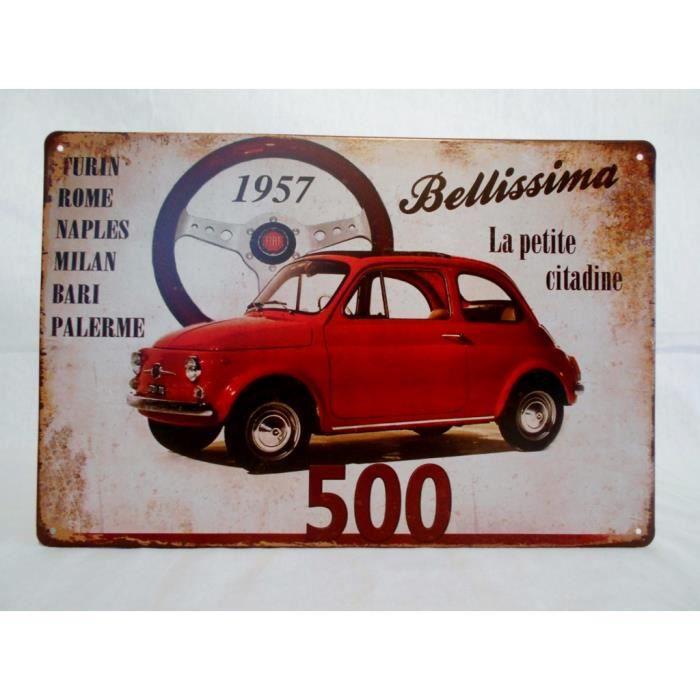 Plaque m tal fiat 500 achat vente objet d coration for Decoration murale fiat 500