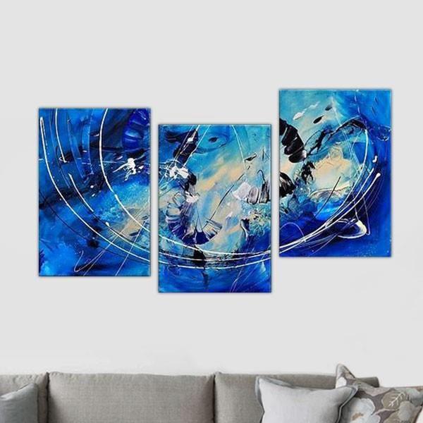 triptyque bleu et blanc achat vente tableau toile cdiscount. Black Bedroom Furniture Sets. Home Design Ideas