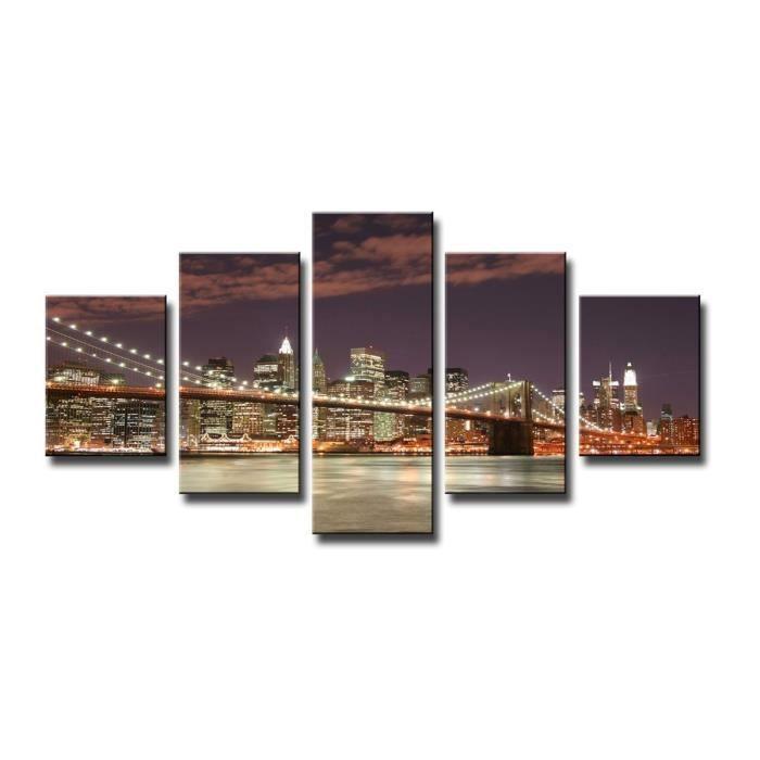 Tableau moderne imprim 160x80 cm city achat vente tableau toile toil - Tableau moderne discount ...
