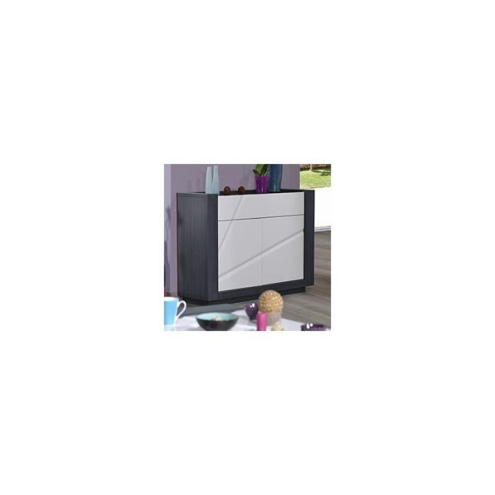 Buffet blanc laqu et gris lumineux illusion blanc gris achat vente buffet bahut buffet - Buffet de salle a manger noir et gris laque 150 cm ...