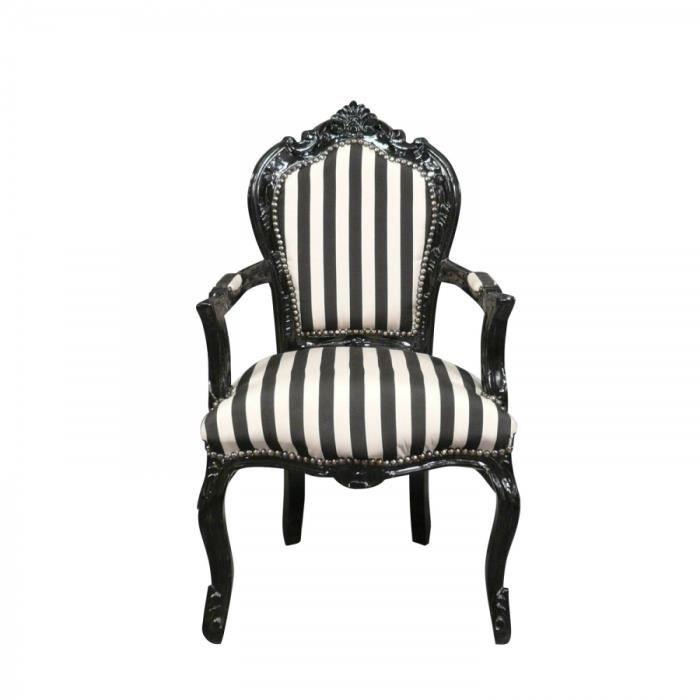 Fauteuil baroque noir et blanc achat vente fauteuil h tre massif tissu - Fauteuil design noir et blanc ...