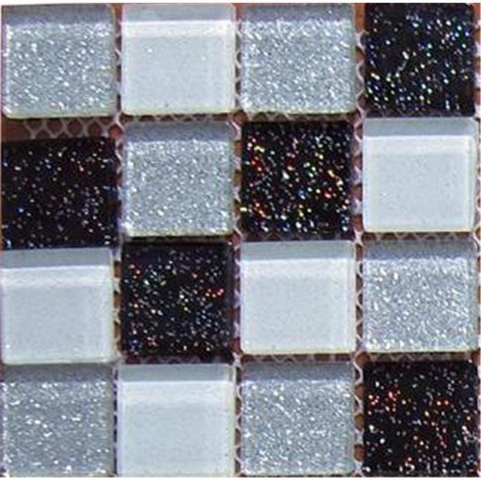 Carrelage mosa que en verre argent blanc noir avec des paillettes multicolor - Carrelage mosaique discount ...
