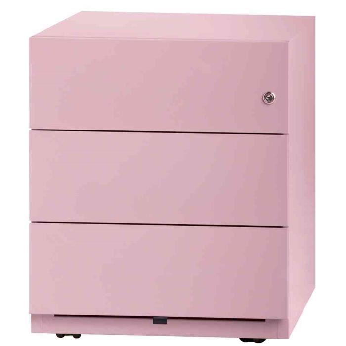 Caisson de bureau rose for Bureau 6 tiroirs
