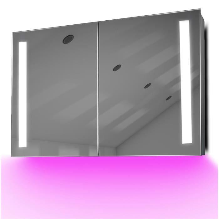 armoire de toilette anti bu e avec capteur et prise rasoir int rieure k372b gris achat. Black Bedroom Furniture Sets. Home Design Ideas
