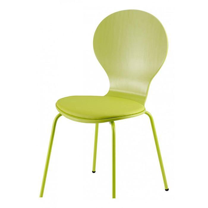 Chaise vert int gral avec coussin v ronique lot de 4 id - Chaise qui se balance ...