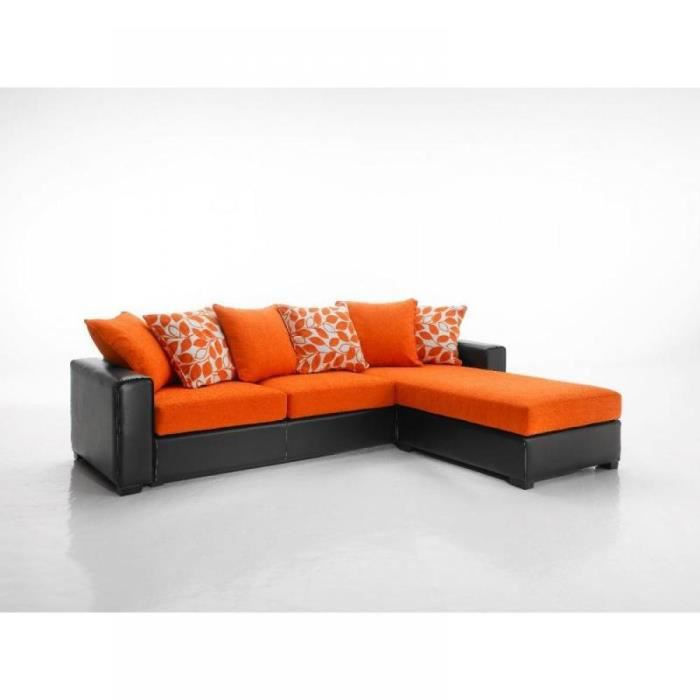 Canap d 39 angle r versible kennett tweed orange achat vente canap - Canape d angle moelleux ...
