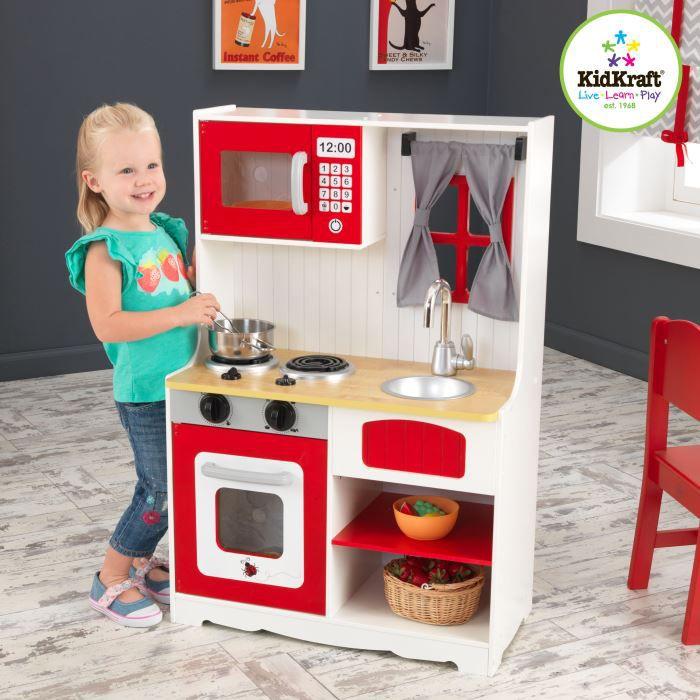 Kidkraft cuisine de campagne enfant en bois rouge achat vente dinette c - Cuisine kidkraft avis ...