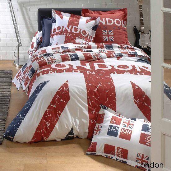 housse de couette et taie d 39 oreiller london achat vente parure de cou. Black Bedroom Furniture Sets. Home Design Ideas