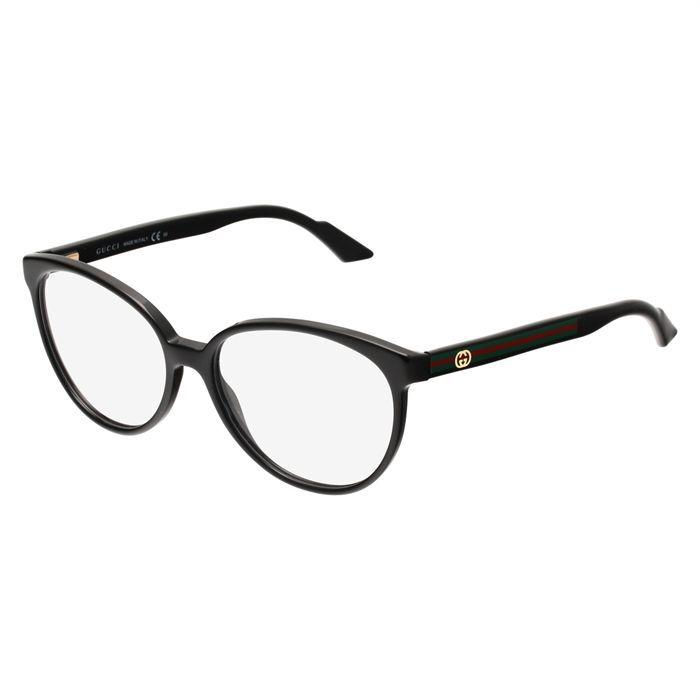 gucci monture de lunettes de vue femme noir vert achat. Black Bedroom Furniture Sets. Home Design Ideas