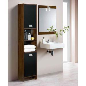 TOP Colonne de salle de bain 39cm - Décor wengé et noir