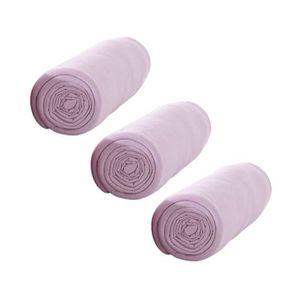 TODAY Pack de 3 Draps Housse 100% coton 90x190 cm poudre de lila