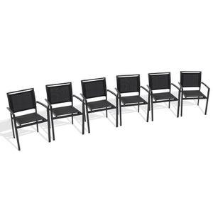 Lot de 6 fauteuils de jardin aluminium et textil?ne noir