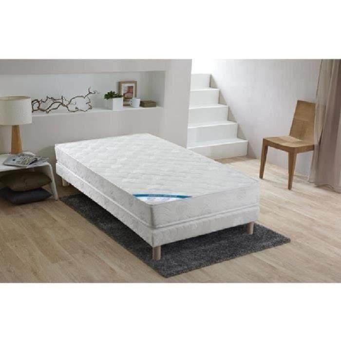 Confort design ensemble matelas sommier vigo 90x190cm ressorts equilibr - Sommier et matelas 1 personne ...