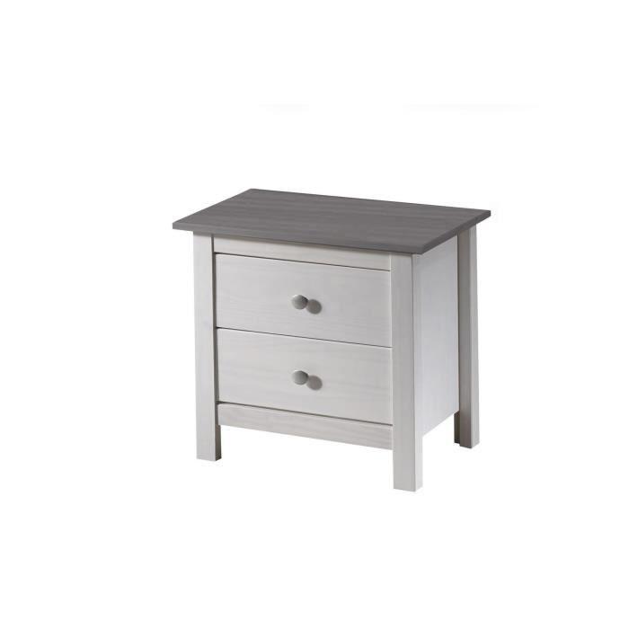 Dina chevet 2 tiroirs blanc gris achat vente chevet - Table de chevet trois tiroirs ...