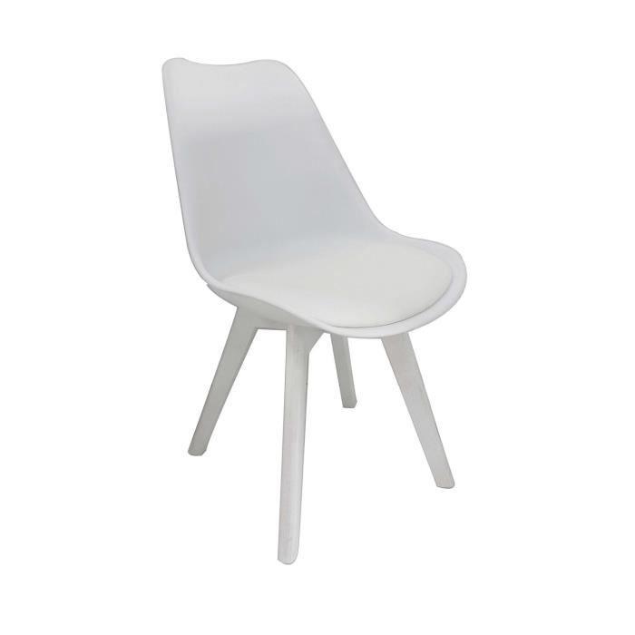 bjorn chaise coque pvc blanc pieds bois blanc achat vente chaise pvc bois cdiscount. Black Bedroom Furniture Sets. Home Design Ideas