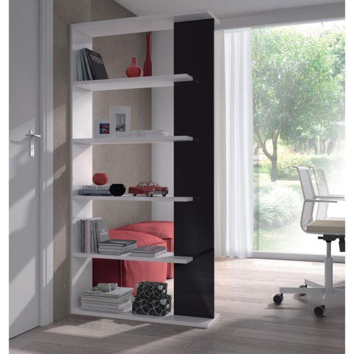 ALIDA Bibliothèque noir et blanc brillant - L 90 cm - Achat ...