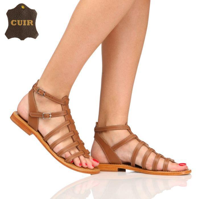 bakajoo sandales cuir elisabeth femme femme camel achat vente bakajoo sandales elisabeth. Black Bedroom Furniture Sets. Home Design Ideas